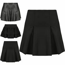 Womens High Waisted Pleated A-Line Skater Faux Leather Frill Lace Stretchy Skirt