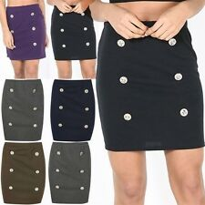 Womens Ladies Bodycon Double Gold Buttons Stretchy Bandage Skinny Fit Mini Skirt