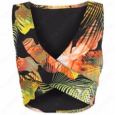 LADIES CROSSOVER FRONT FLORAL CROP VEST TOP WOMENS WRAP OVER SLEEVELESS V-NECK