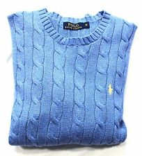 Ralph Lauren Polo Cotton Roving Cable Knit Jumper Men's Long Sleeve LT Blue BNWT