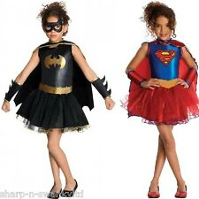 Girls Supergirl Batgirl Tutu Hero Book Day Halloween Fancy Dress Costume Outfit