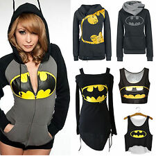 Women Batman Print Hooded Hoodie Sweatshirt Pullover Jumper T SHirts Tops Blouse