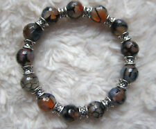 Faceted Red & Black Multicolored Fire Agate Gemstones Bracelet - Unisex.