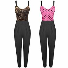 WOMENS POLKA DOT SPOTTED LEOPARD PRINT JUMPSUIT LADIES PADDED STRAP TOP TROUSERS