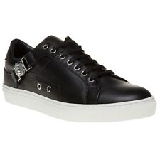 New Mens Versace Collection Black Saddle Branded Low Top Leather Trainers Lace