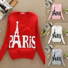 Women's Paris Print Long Sleeve Sweatshirts Pullover Casual Coat Outwear Girls