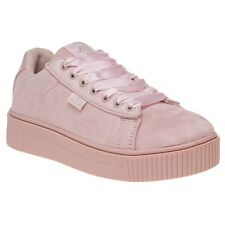 New Womens XTI Nude Pink 46801 Microfibre Trainers Flats Lace Up