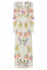 SHEER WHITE FLORAL EMBROIDERED MAXI DRESS FROCK AND FRILL BOHO HIPPIE FESTIVAL