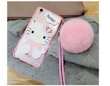 3D Cute Hello Kitty Mirror Soft TPU Case Cover With Neck Strap For iPhone 6/6S