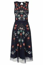 Frock and Frill Embroidered Skater Dress in Navy 1950's Style Fit and Flare Midi