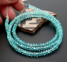 AAAAA TRANSLUCENT GEM MADAGASCAR BLUE APATITE FACETED BEAD STRAND 41.4cts