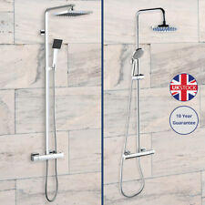 New Thermostatic Twin Head Shower Mixer Exposed Chrome Valve Shower Bathroom Tap