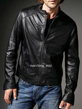 New Soft Genuine Leather Lambskin Motorcycle Biker Jacket Blazer Bomber Coat BRZ