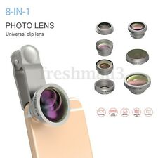8in1 Clip On Camera Lens Kit Fisheye + Wide Angle +Macro for iPhone Mobile Phone
