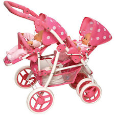 Bassinet Baby Double Doll Stroller Pink Pretend Play Toy Pram Mommy Carrier Girl