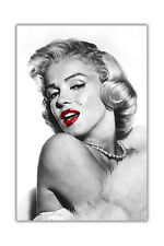Glamorous Marilyn Monroe Red Lips Black and White Poster Print Wall Art Pictures