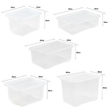 Large Plastic Storage Clear Box with Clear Lid Container Made In U.K.- Set of 10