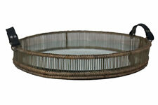 Bayou Breeze Rattan Accent Tray with Leather Hand