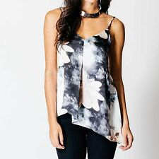 LADIES STRAPPY FLORAL ASYMMETRIC TOP WOMENS SIDE SLANTED CAMI STRAP VEST LOOK