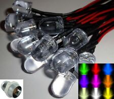 10mm Ultra Bright Pre-wired Constant/Flashing 12v LEDs Chrome Holders