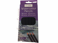 WATER COLOUR PENCILS BLACK / 12 ASSORTED FULL SIZE PENCILS WORK OF ARTS