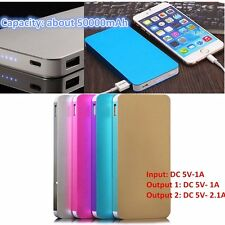 Ultrathin Dual USB Battery External Power Bank Backup Charger For Cell PhoYT