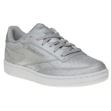 New Womens Reebok Metallic Club C 85 Syn Synthetic Trainers Court Lace Up