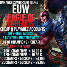 LOL Account League of Legends Account EUW All Champs Skins Unranked lvl 30 level