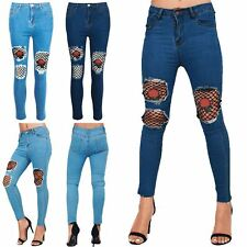 Womens Ladies Destroy Distressed Skinny Fit Denim Rose Embroidery Knee Cut Jeans