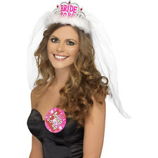 White Pink Bride to Be Tiara with Veil Girls Wedding Hen Night Out Party Smiffys