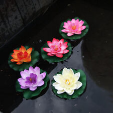 Ornament Home Artificial Fake Lotus Water lily Floating Flower Garden Pool Plant