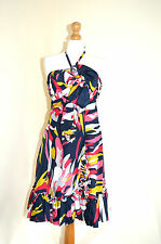 TED BAKER COLOURFUL PINK,BLUE HALTERNECK SUMMER BEACH HOLIDAY DRESS BNWT UK10/2