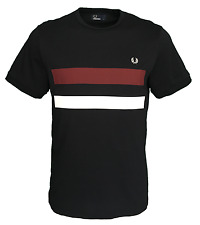 Mens Fred Perry T-Shirt - Bold Print Tipped Stripe - Navy - M2595 - 608
