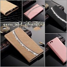 Luxury Leather Diamond Crystal Flip Wallet Magnetic Case Cover For iPhone Models