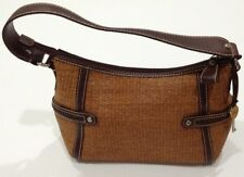 Fossil Woven Tan Straw Hobo Shoulder Handbag Purse Brown Leather Trim