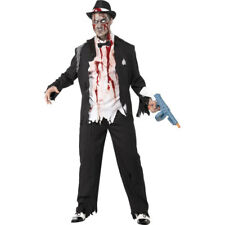 Adult Mens Zombie Gangster Halloween 1920s Fancy Dress Costume Outfit 31910