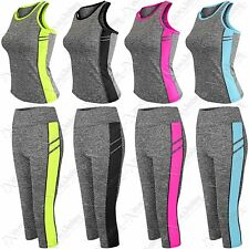 WOMEN SPORTSWEAR YOGA WORKOUT TRACKSUIT FITNESS GYM TANK TOP CAPRI PANTS 2 PC