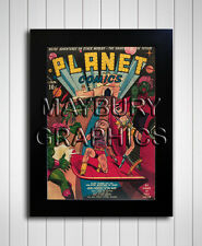 Science Fiction Comic Cover  Prints - Planet Comics 1940 to 1953 - A4 Framed