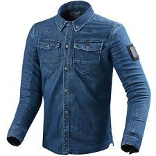REV'IT! HUDSON DENIM AZUL Sobrecamisa Cubierta Urbano Retro Motocicleta revit