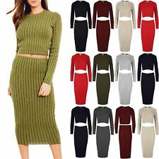 Ladies Ribbed Knitted Pencil Fit Bodycon Midi Skirt Womens Crop Top Co Ord Set