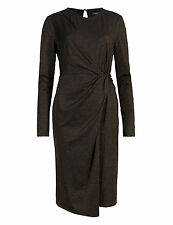 BNWT New Marks and Spencer M & S Black Bronze Wrap Drape Long Sleeve Dress 18