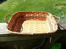 Vintage Wicker/Rattan BREAD STORAGE Basket RECTANGULAR Brown Handles
