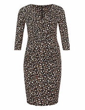 BNWT New MARKS and SPENCER M & S Slimming Brown White Black Animal Wrap Dress 22