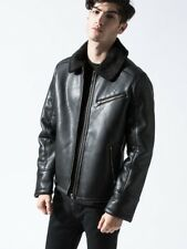 Men's Black Faux Leather Aviator Jacket with Faux Shearling Collar