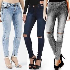 NEW LADIES RIPPED SKINNY RIP JEANS WOMEN DISTRESSED BLUE DENIM STRETCH FIT PANTS