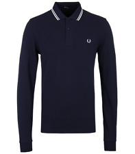 Fred Perry Long Sleeve Polo T-Shirt - Blue Granite - Twin Tipped - M3636 - 226