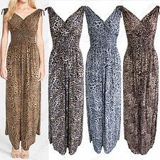 NEW LADIES LEOPARD ANIMAL PRINT V NECK MAXI DRESS LONG WOMENS GRECIAN LOOK DRESS