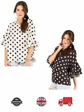 Ladies Top Polka Dot Spot Frilled Sleeves Keyhole Neck Soft Trendy
