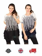 Ladies Top Multi Vertical Stripe Oversized Soft Qualified Trendy Casual