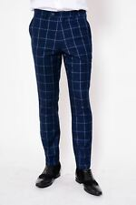 Mens Marc Darcy Designer Blue Windowpane Check Print Tailored Trousers